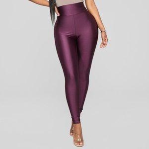 Fashion Nova Shiny Plum Leggings